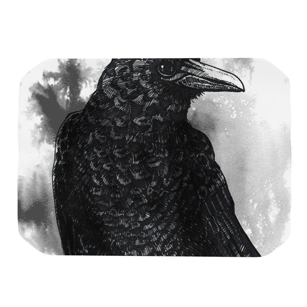 "Sophy Tuttle ""Crow"" Black White Place Mat - KESS InHouse"