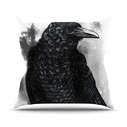 "Sophy Tuttle ""Crow"" Black White Outdoor Throw Pillow - Outlet Item"