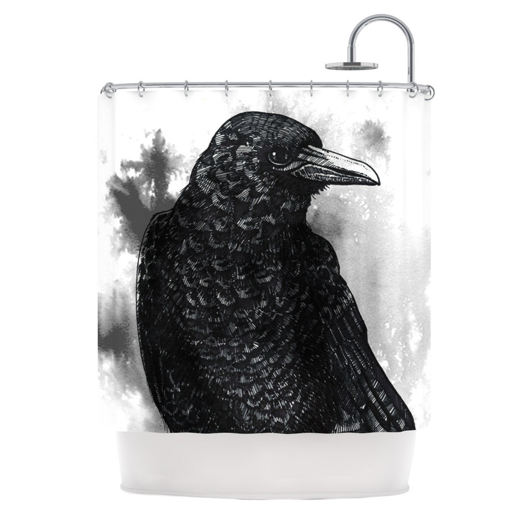 "Sophy Tuttle ""Crow"" Black White Shower Curtain - KESS InHouse"