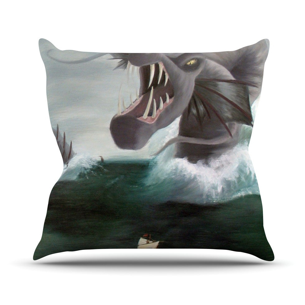 "Sophy Tuttle ""Vessel"" Green Blue Throw Pillow - KESS InHouse  - 1"