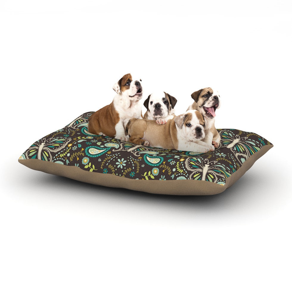 "Suzie Tremel ""Butterfly Garden"" Brown Teal Dog Bed - KESS InHouse  - 1"