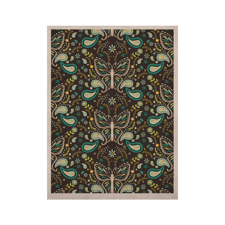 "Suzie Tremel ""Butterfly Garden"" Brown Teal KESS Naturals Canvas (Frame not Included) - KESS InHouse  - 1"