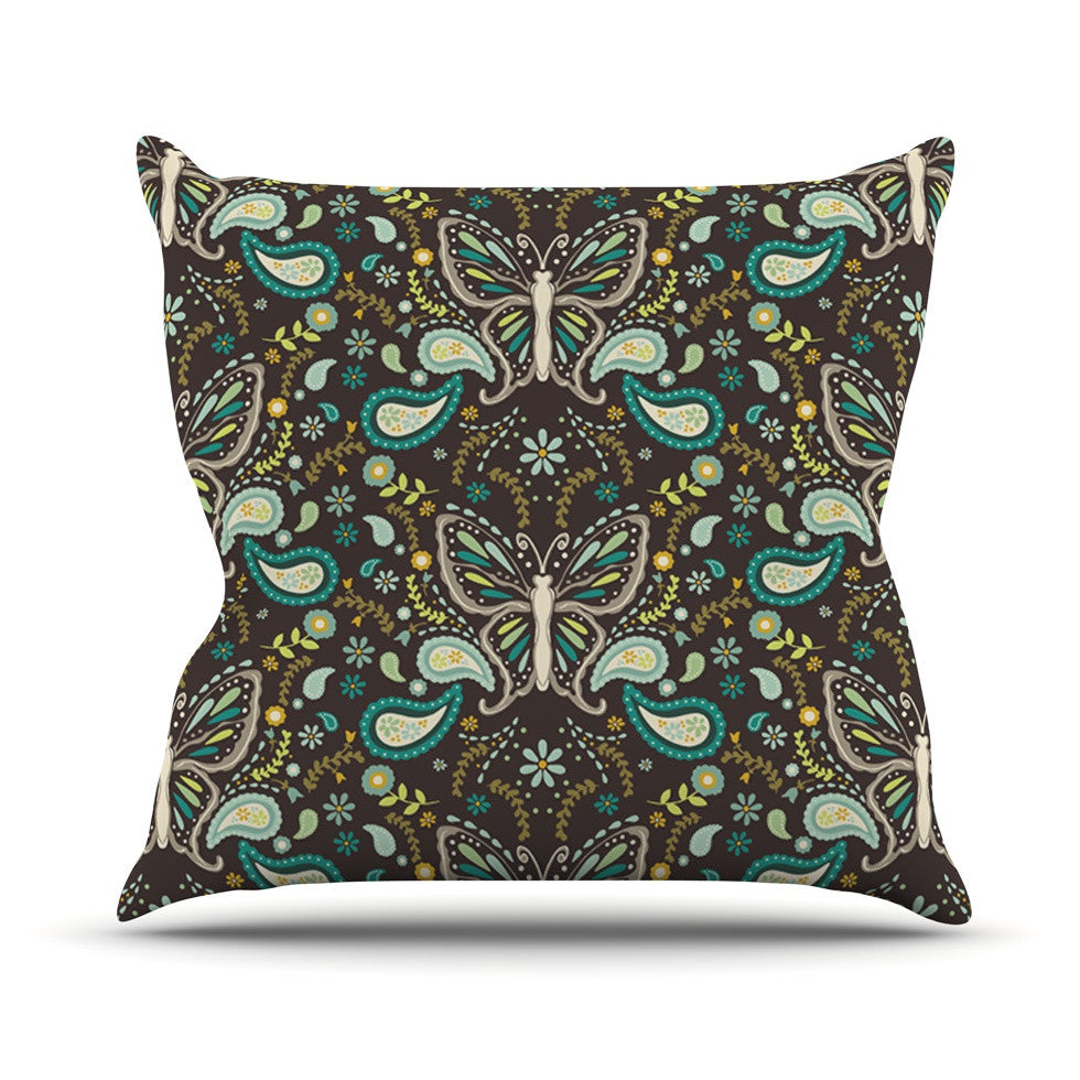 "Suzie Tremel ""Butterfly Garden"" Brown Teal Throw Pillow - KESS InHouse  - 1"