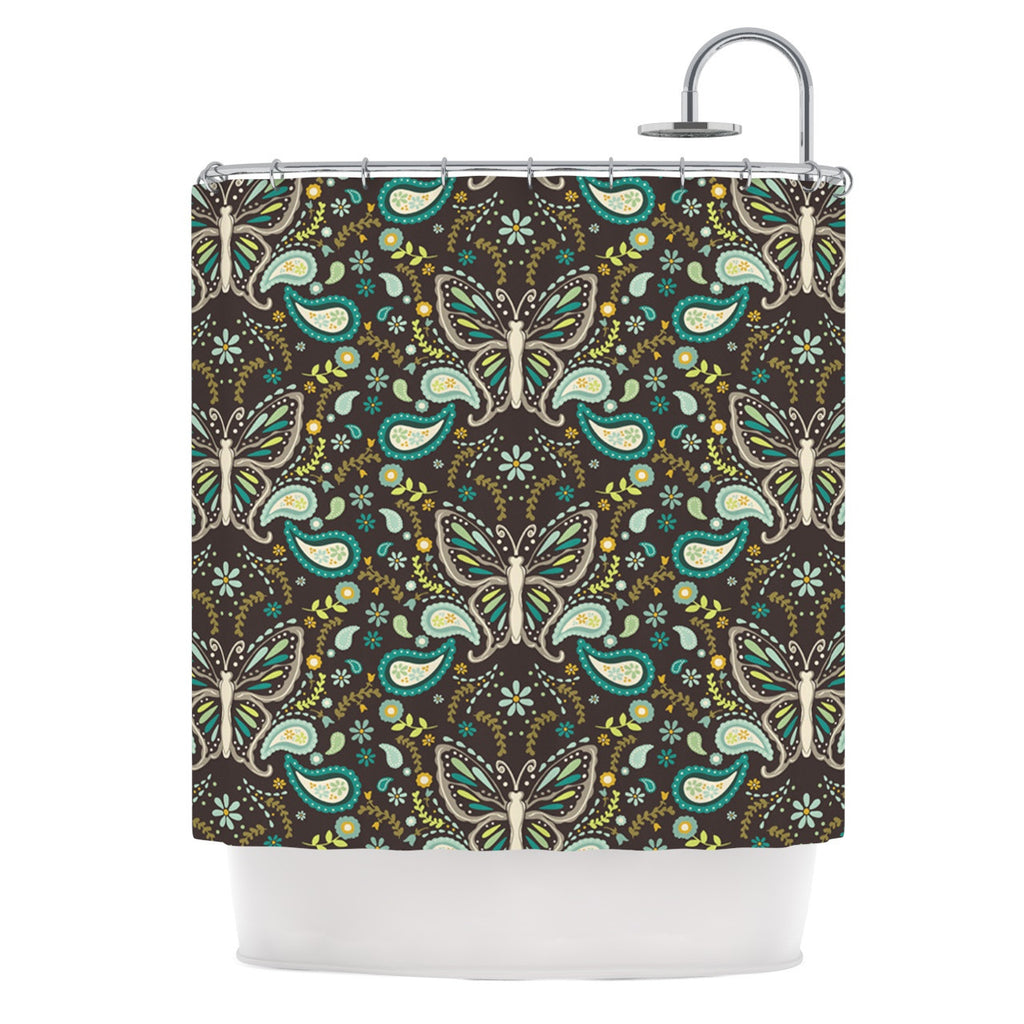 "Suzie Tremel ""Butterfly Garden"" Brown Teal Shower Curtain - KESS InHouse"