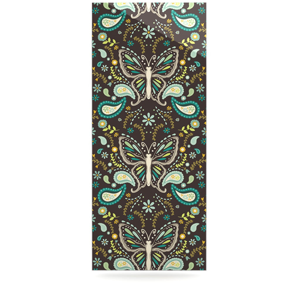 "Suzie Tremel ""Butterfly Garden"" Brown Teal Luxe Rectangle Panel - KESS InHouse  - 1"