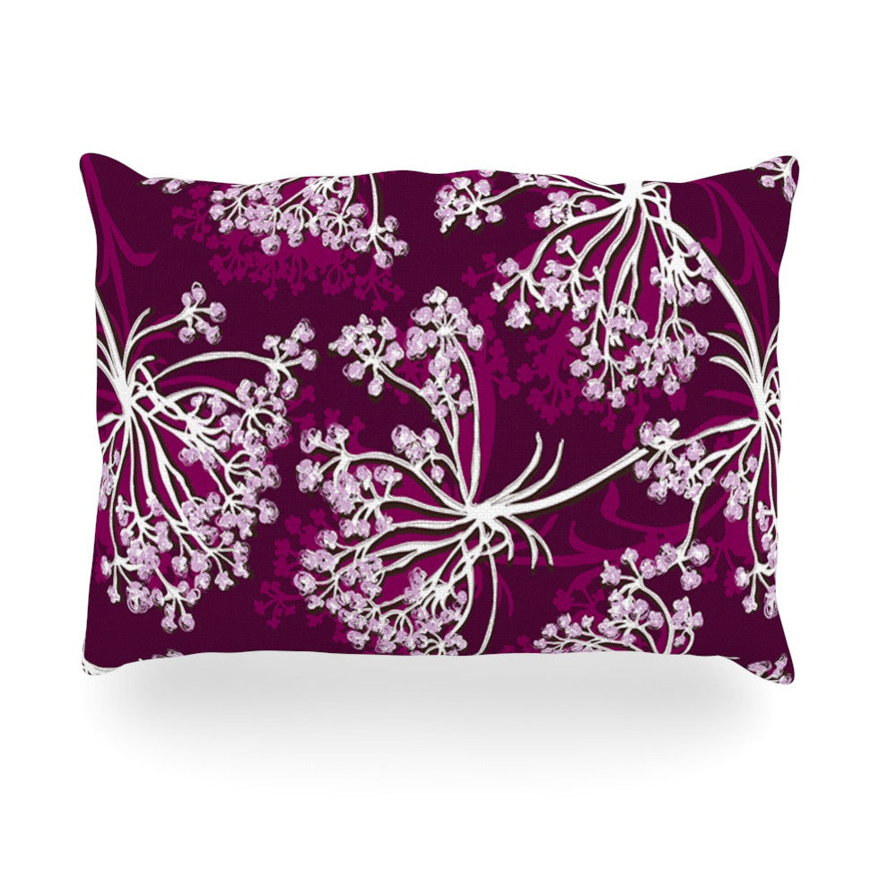 "Suzie Tremel ""Squiggly Floral"" Pink White Oblong Pillow - KESS InHouse"