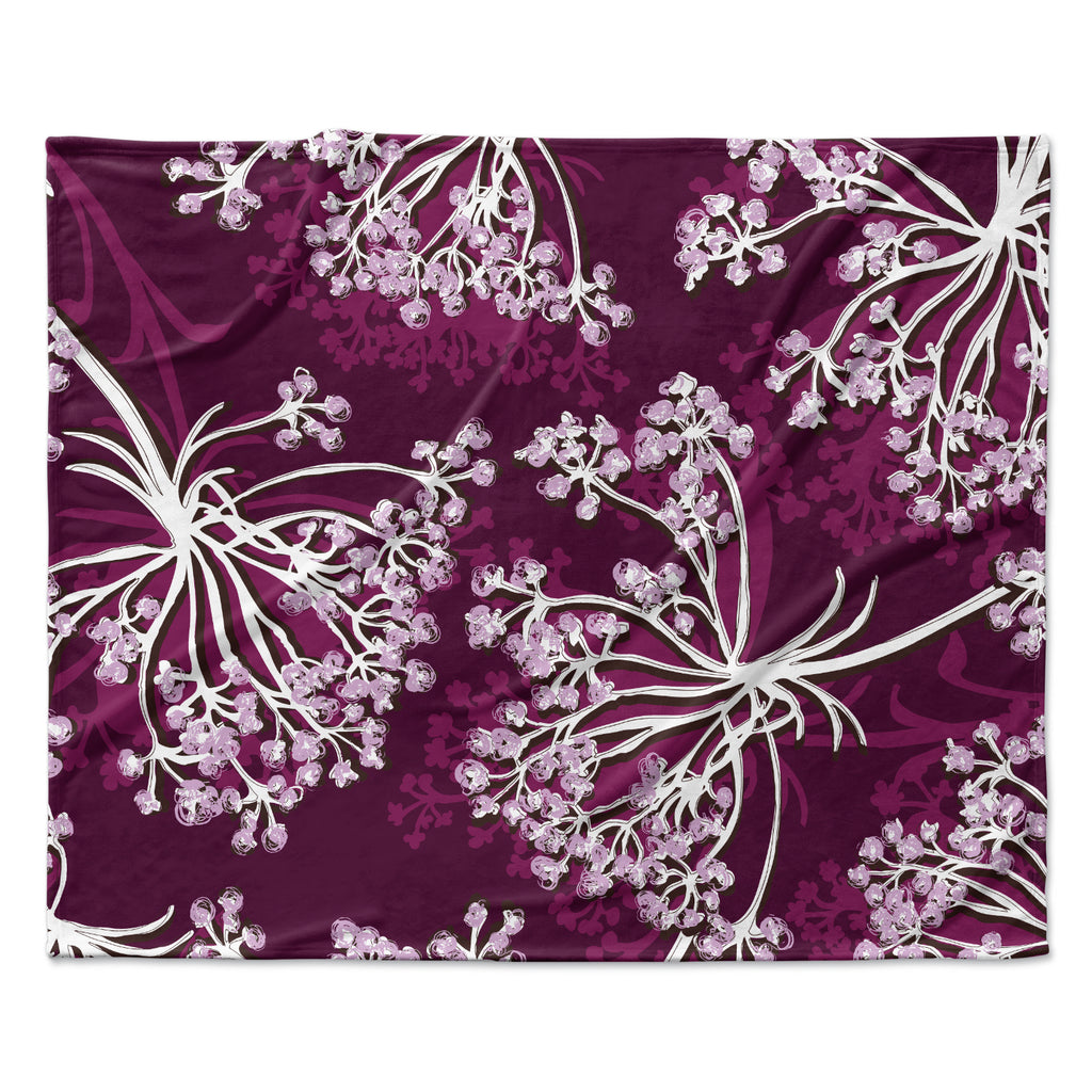 "Suzie Tremel ""Squiggly Floral"" Pink White Fleece Throw Blanket"