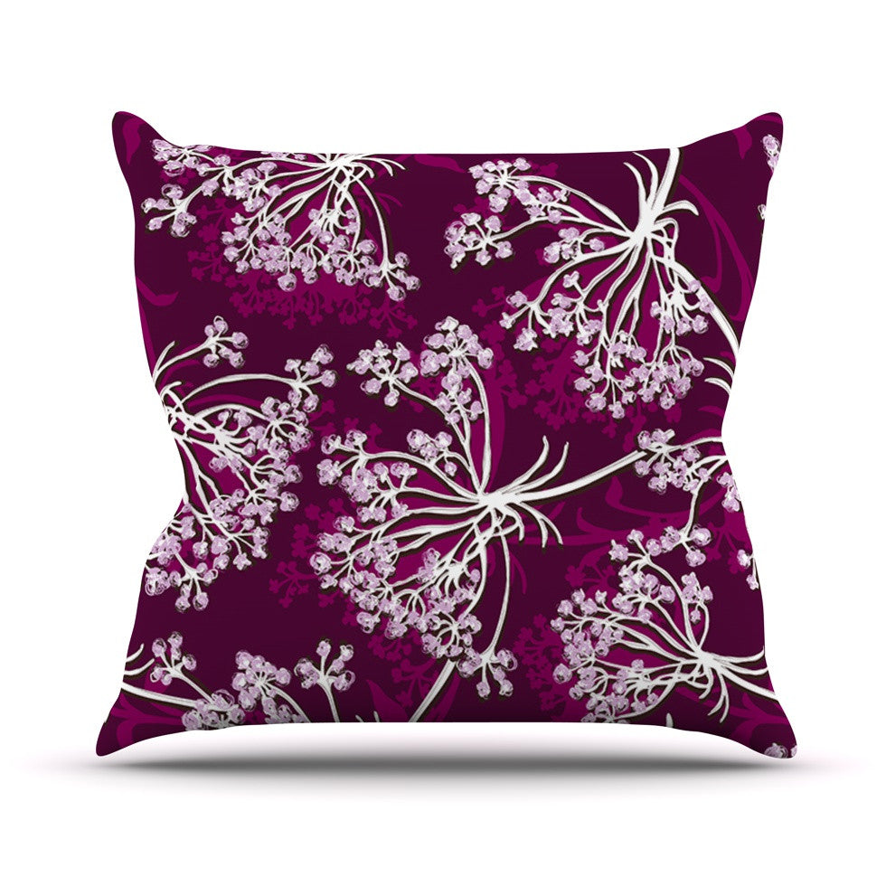 "Suzie Tremel ""Squiggly Floral"" Pink White Outdoor Throw Pillow - KESS InHouse  - 1"