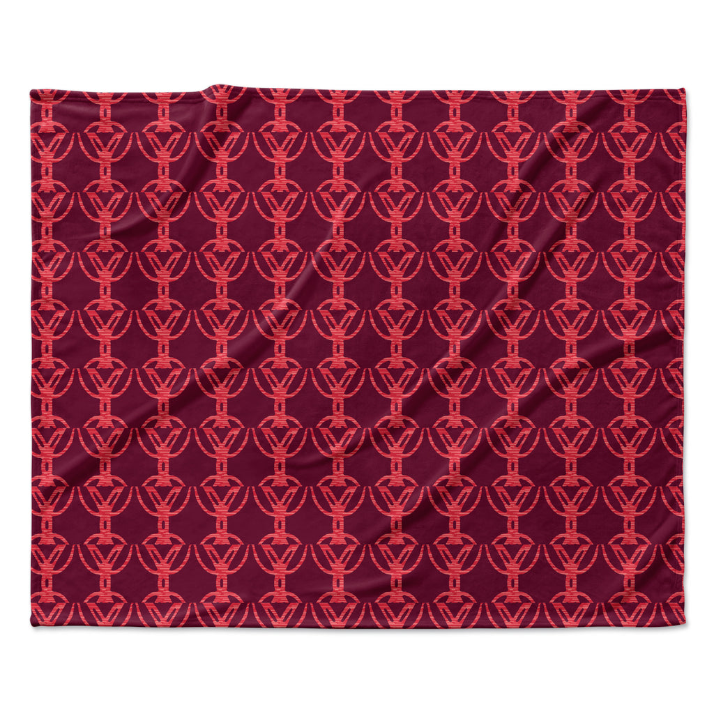 "Suzie Tremel ""Rick Rack"" Red Orange Fleece Throw Blanket"