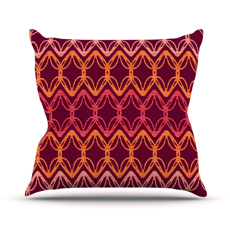 "Suzie Tremel ""Rick Rack"" Red Orange Outdoor Throw Pillow - KESS InHouse  - 1"