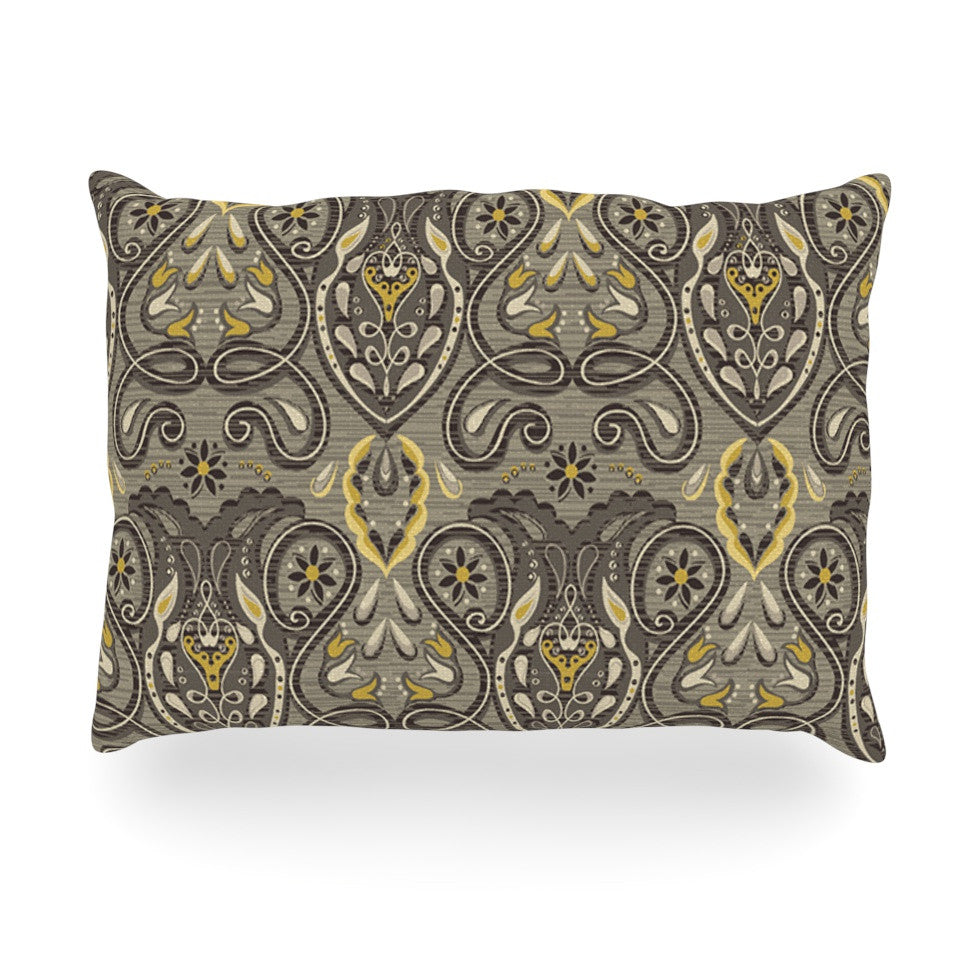 "Suzie Tremel ""Vintage Damask"" Brown Gold Oblong Pillow - KESS InHouse"