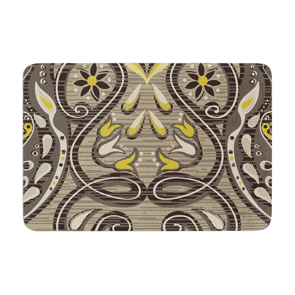 "Suzie Tremel ""Vintage Damask"" Brown Gold Memory Foam Bath Mat - KESS InHouse"