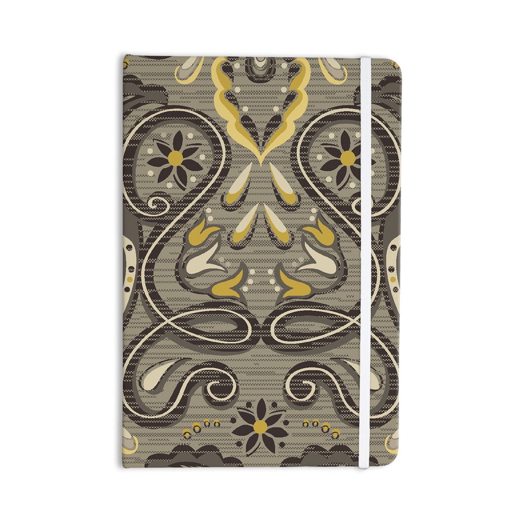 "Suzie Tremel ""Vintage Damask"" Brown Gold Everything Notebook - KESS InHouse  - 1"