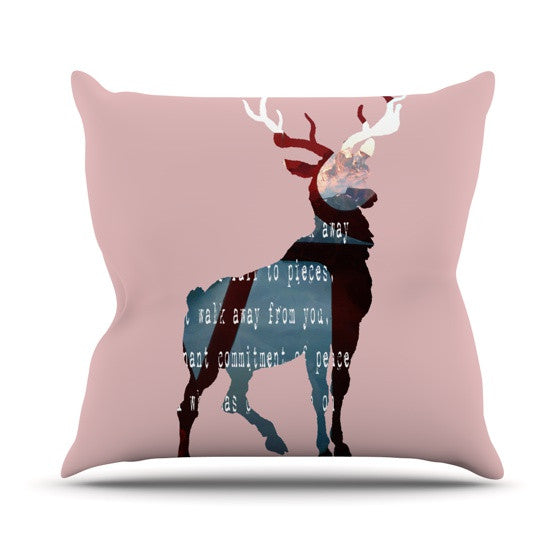 "Suzanne Carter ""Oh Deer"" Outdoor Throw Pillow - KESS InHouse  - 1"