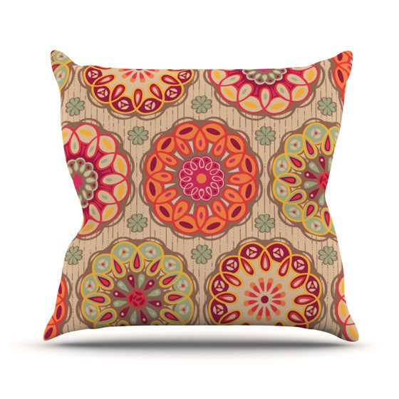 "Suzie Tremel ""Festival Folklore"" Vintage Floral Outdoor Throw Pillow - KESS InHouse  - 1"