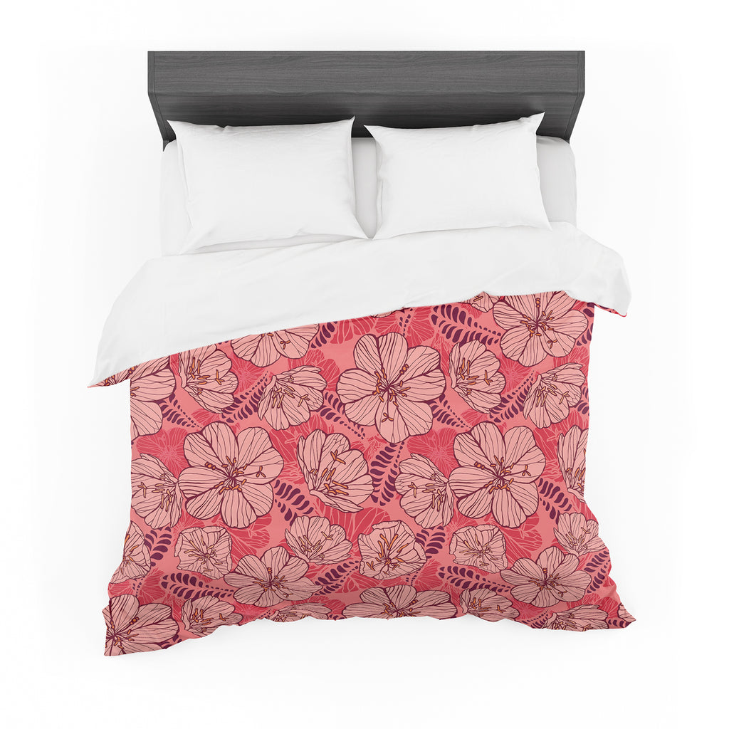 "Suzie Tremel ""Flutter Floral"" Red Petals Featherweight Duvet Cover"