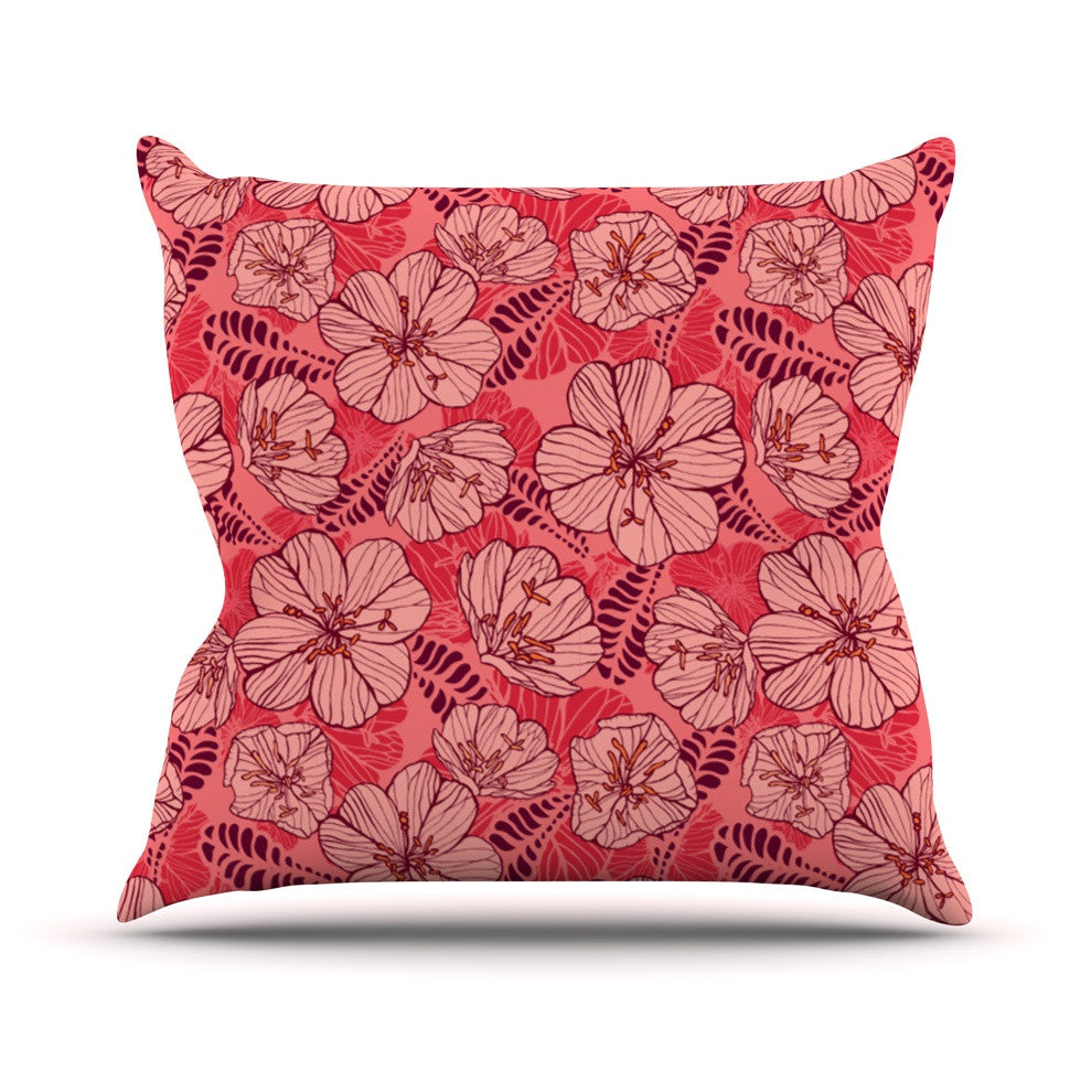 "Suzie Tremel ""Flutter Floral"" Red Petals Throw Pillow - KESS InHouse  - 1"