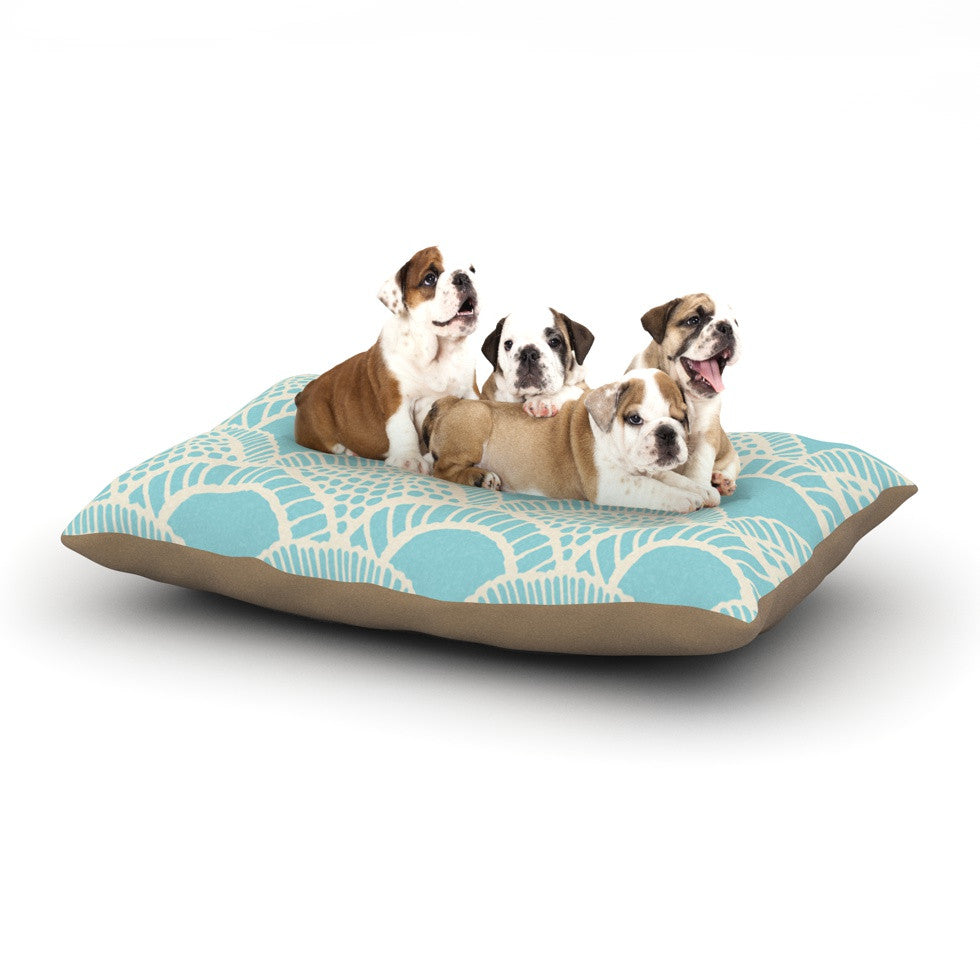 "Suzie Tremel ""Heathered Scales"" Blue Tan Dog Bed - KESS InHouse  - 1"