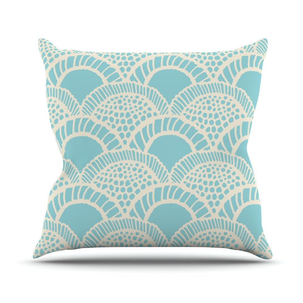 "Suzie Tremel ""Heathered Scales"" Blue Tan Outdoor Throw Pillow - KESS InHouse  - 1"