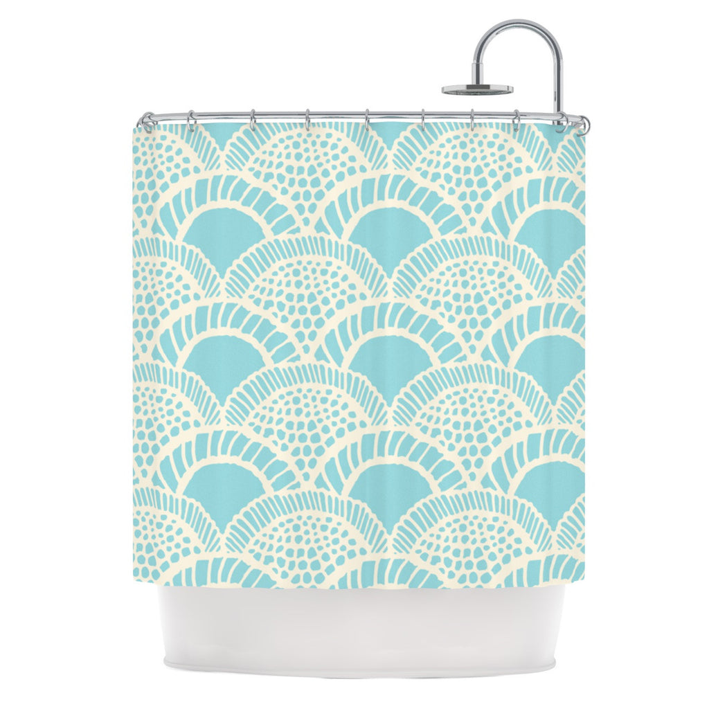 "Suzie Tremel ""Heathered Scales"" Blue Tan Shower Curtain - KESS InHouse"