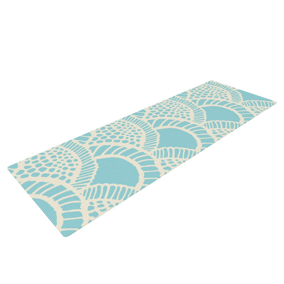 "Suzie Tremel ""Heathered Scales"" Blue Tan Yoga Mat - KESS InHouse  - 1"