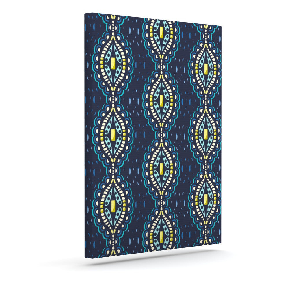 "Suzie Tremel ""Ogee Lace"" Navy Blue Canvas Art - KESS InHouse  - 1"