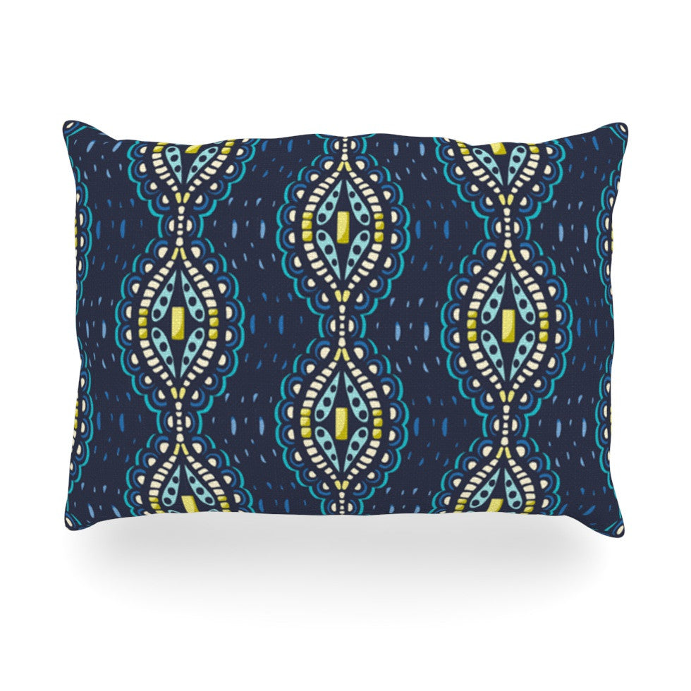 "Suzie Tremel ""Ogee Lace"" Navy Blue Oblong Pillow - KESS InHouse"