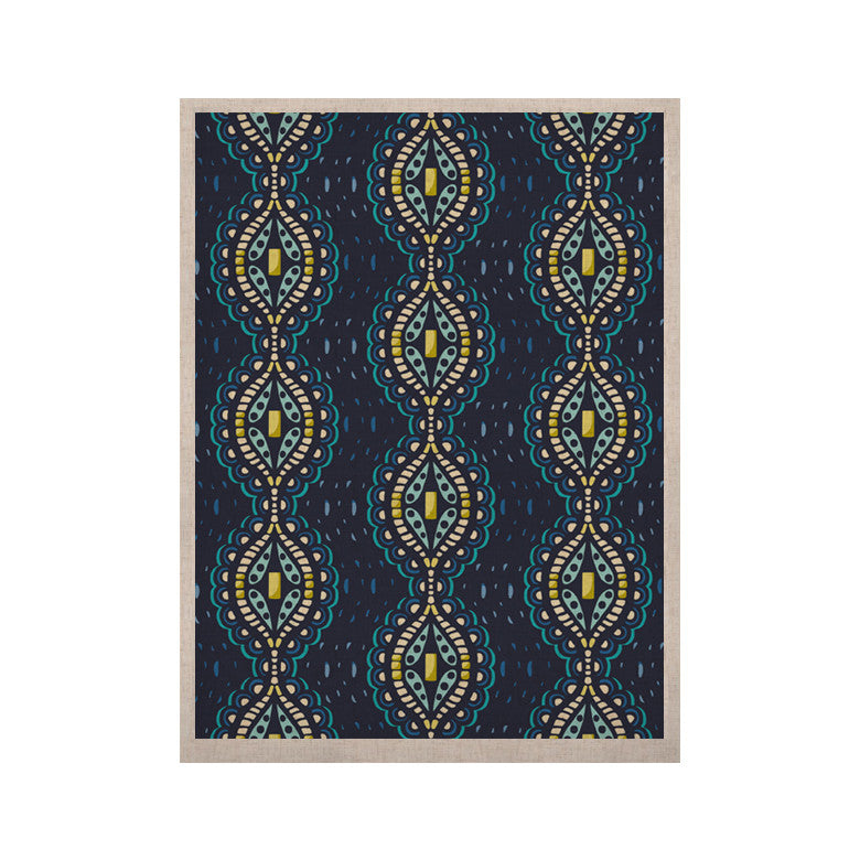 "Suzie Tremel ""Ogee Lace"" Navy Blue KESS Naturals Canvas (Frame not Included) - KESS InHouse  - 1"
