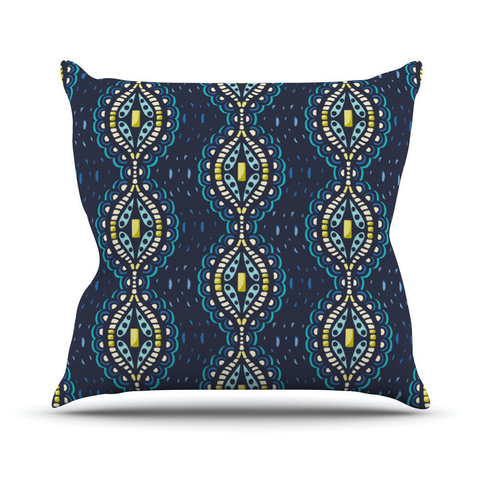 "Suzie Tremel ""Ogee Lace"" Navy Blue Throw Pillow - KESS InHouse  - 1"