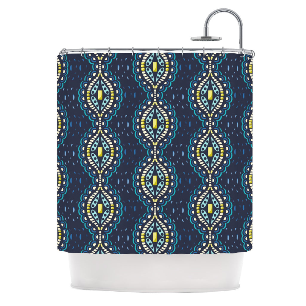 "Suzie Tremel ""Ogee Lace"" Navy Blue Shower Curtain - KESS InHouse"