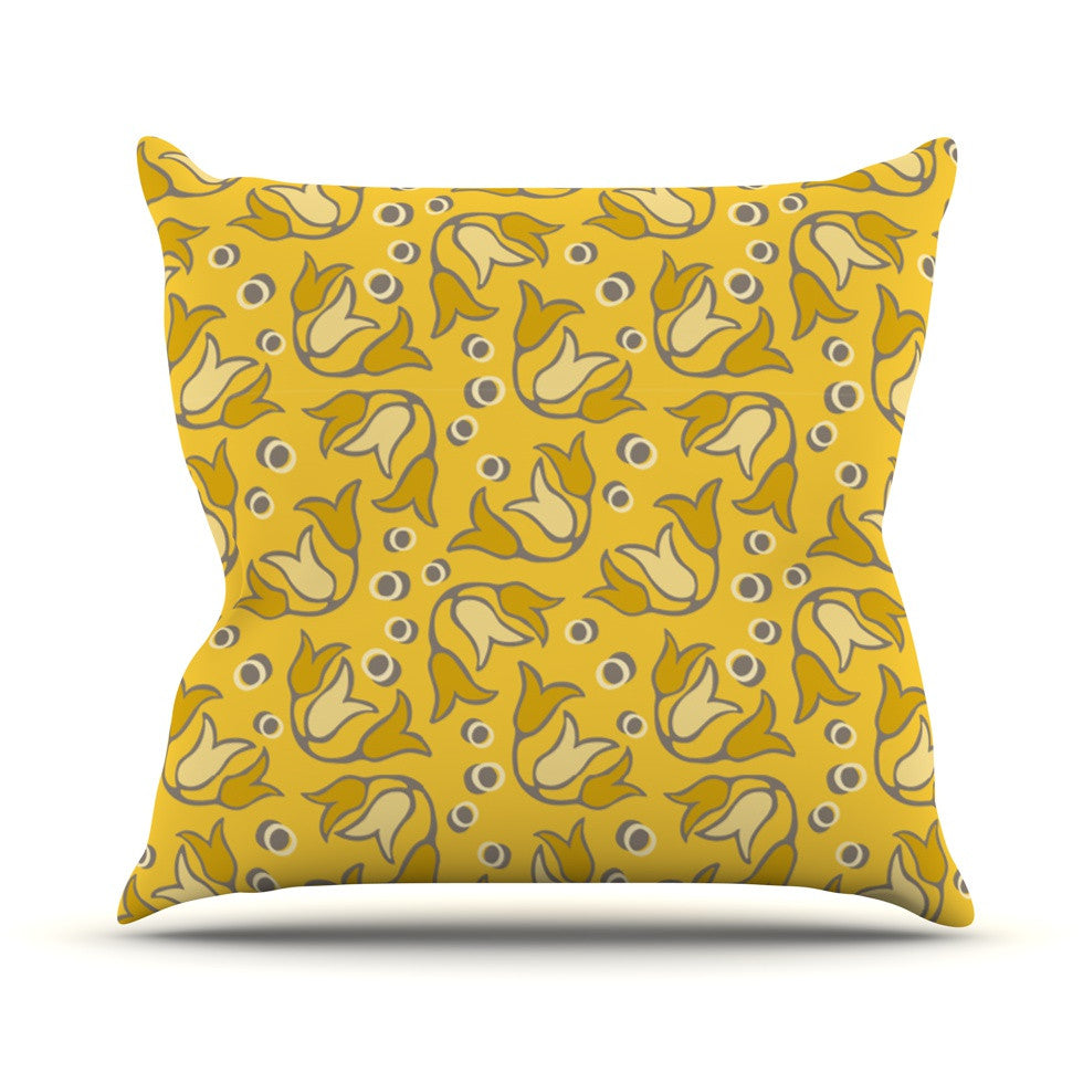 "Suzie Tremel ""Tulip Toss"" Yellow Petals Outdoor Throw Pillow - KESS InHouse  - 1"