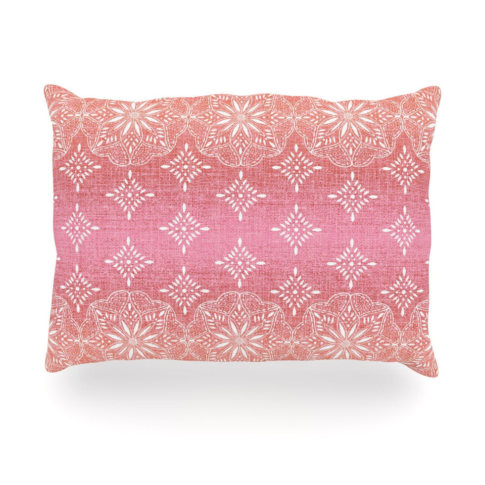 "Suzie Tremel ""Medallion Red Ombre"" Pink Oblong Pillow - KESS InHouse"