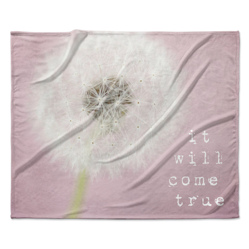 "Susannah Tucker ""It Will Come True"" Pink Flower Fleece Throw Blanket"