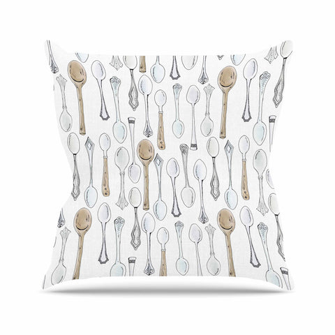 "Stephanie Vaeth ""Spoons"" White Gray Throw Pillow - Outlet Item - KESS InHouse"
