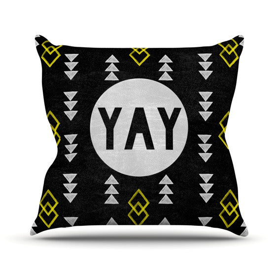 "Skye Zambrana ""Yay"" Outdoor Throw Pillow - KESS InHouse  - 1"