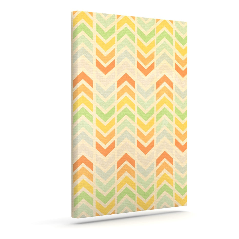 "Skye Zambrana ""Infinity"" Tan Chevron Outdoor Canvas Wall Art - KESS InHouse  - 1"
