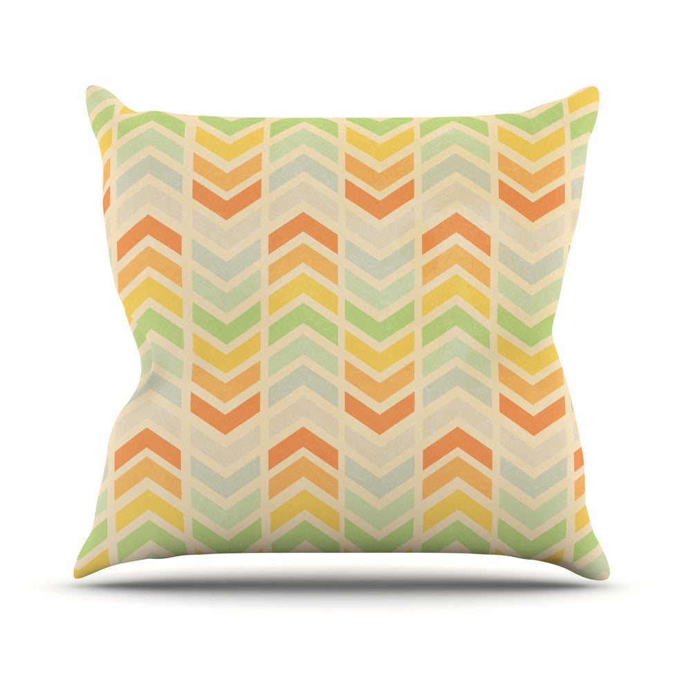 "Skye Zambrana ""Infinity"" Tan Chevron Outdoor Throw Pillow - KESS InHouse  - 1"
