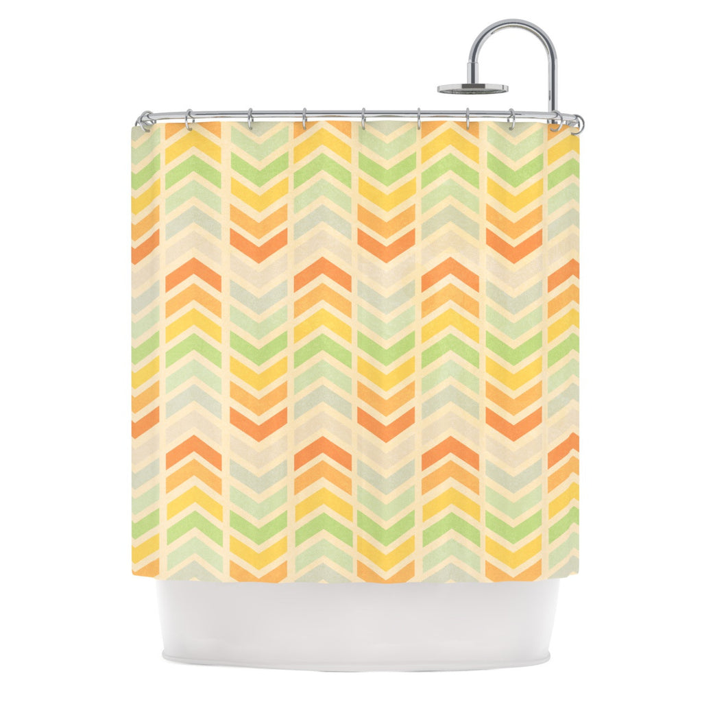 "Skye Zambrana ""Infinity"" Tan Chevron Shower Curtain - KESS InHouse"