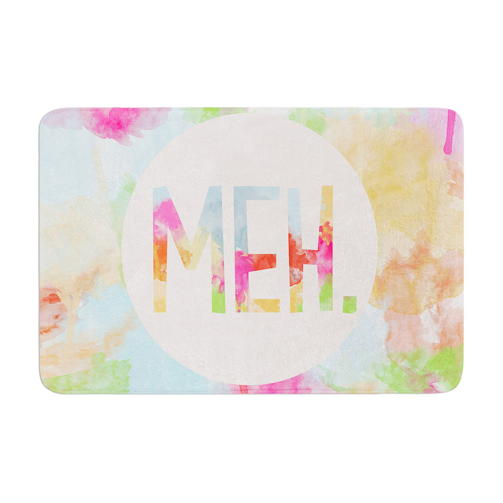 "Skye Zambrana ""Meh"" Rainbow Watercolor Memory Foam Bath Mat - KESS InHouse"