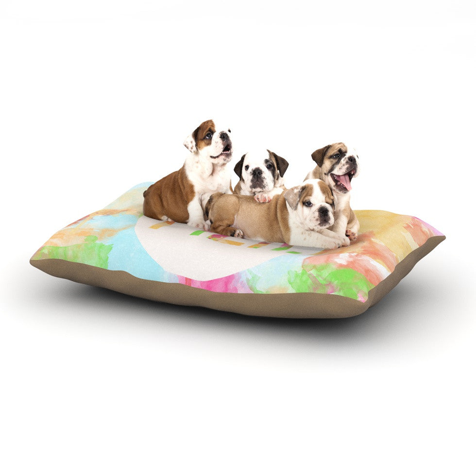 "Skye Zambrana ""Meh"" Rainbow Watercolor Dog Bed - KESS InHouse  - 1"