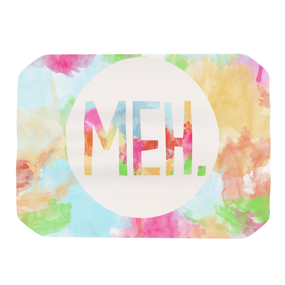 "Skye Zambrana ""Meh"" Rainbow Watercolor Place Mat - KESS InHouse"