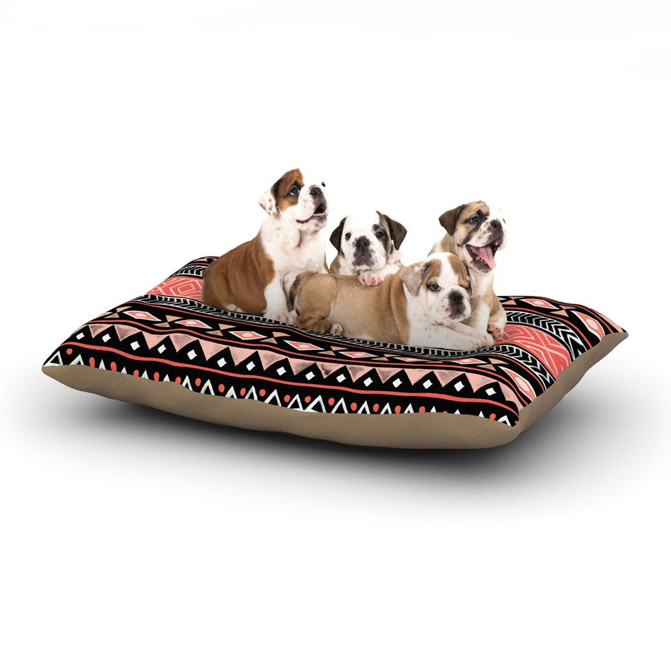 "Skye Zambrana ""Mojave Black"" Black Red Dog Bed - KESS InHouse"