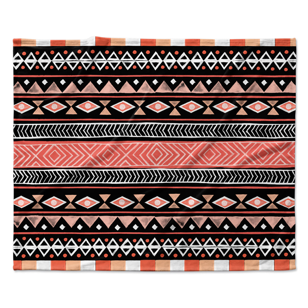 "Skye Zambrana ""Mojave Black"" Black Red Fleece Throw Blanket"