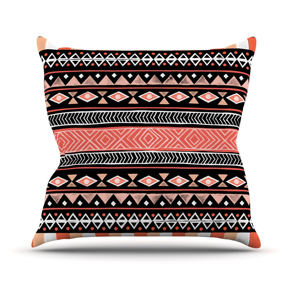 "Skye Zambrana ""Mojave Black"" Black Red Throw Pillow - KESS InHouse"