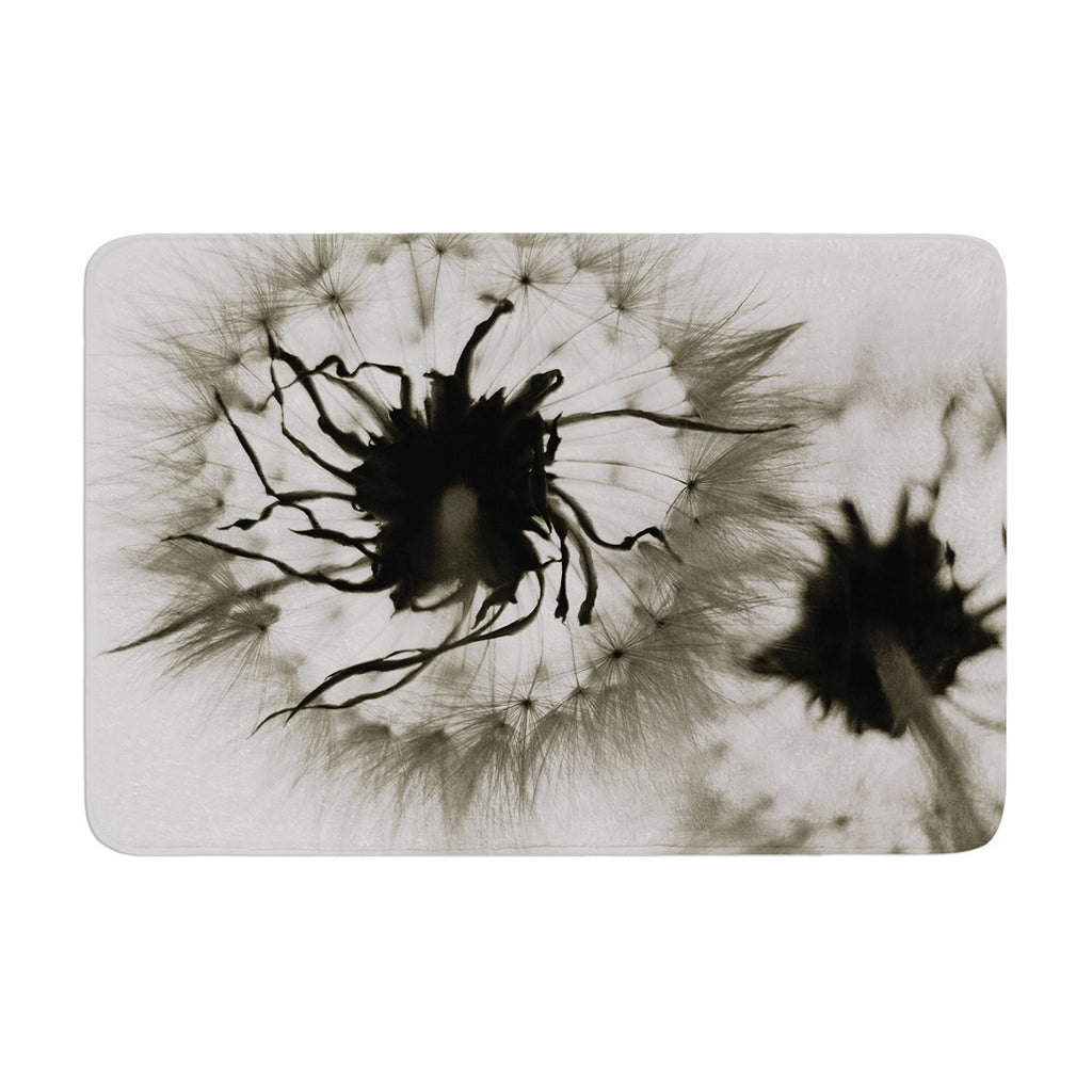 "Skye Zambrana ""Wishes"" Gray Flower Memory Foam Bath Mat - KESS InHouse"