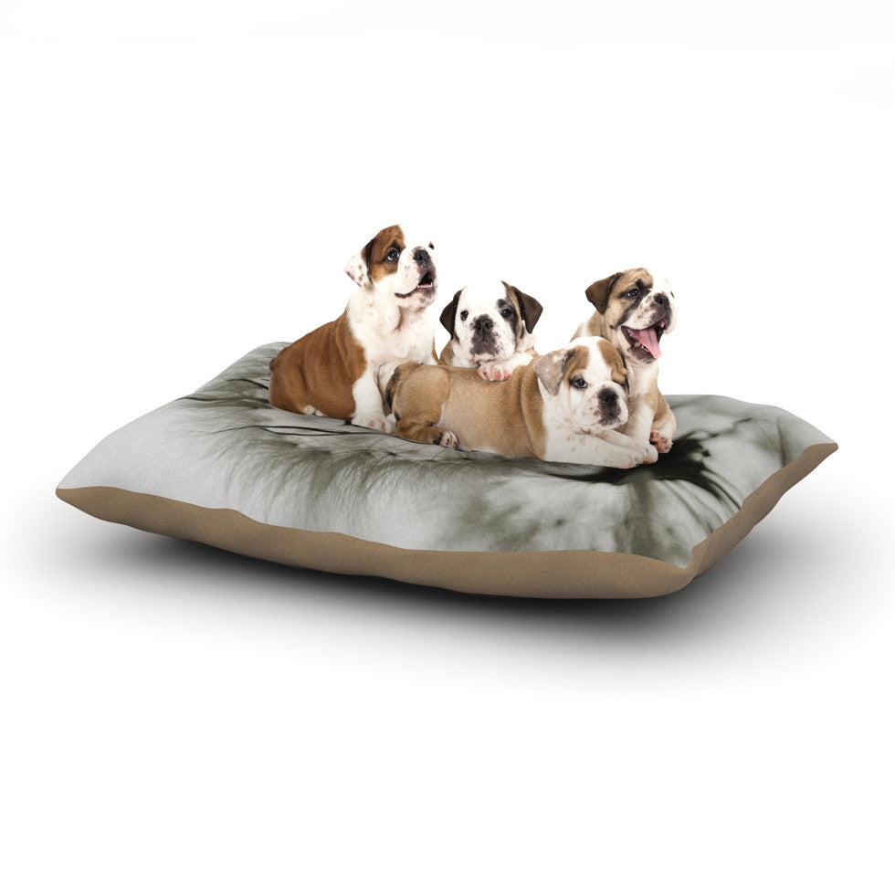 "Skye Zambrana ""Wishes"" Gray Flower Dog Bed - KESS InHouse  - 1"