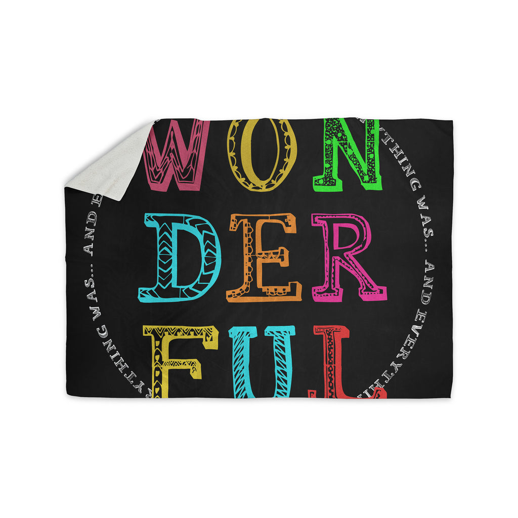 "Skye Zambrana ""Wonderful"" Rainbow Text Sherpa Blanket - KESS InHouse  - 1"