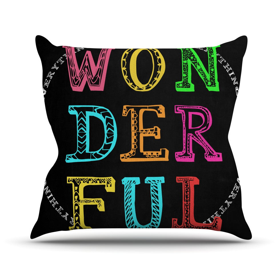 "Skye Zambrana ""Wonderful"" Rainbow Text Outdoor Throw Pillow - KESS InHouse  - 1"