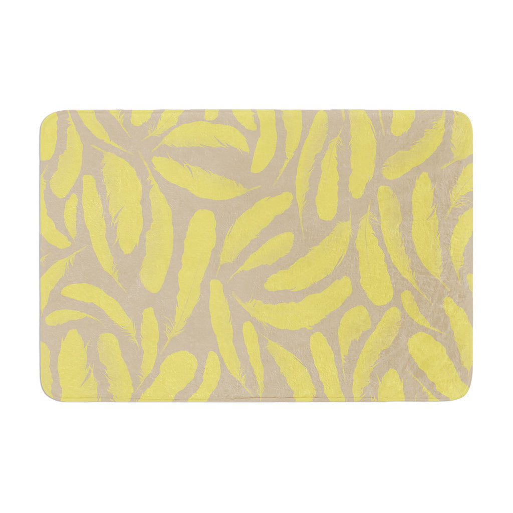 "Skye Zambrana ""Yellow Feather"" Tan Gold Memory Foam Bath Mat - KESS InHouse"