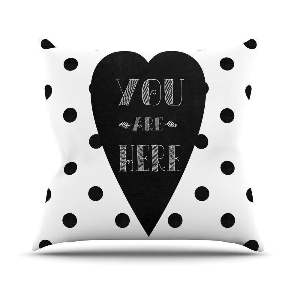 "Skye Zambrana ""You Are Here"" Black White Outdoor Throw Pillow - KESS InHouse  - 1"